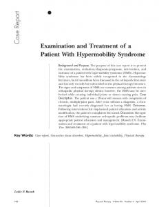 Examination and Treatment of a Patient With Hypermobility Syndrome