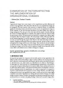 examination of factors affecting the implementation of organizational ...