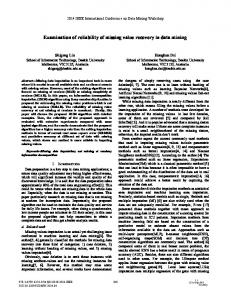 Examination of Reliability of Missing Value Recovery in Data Mining
