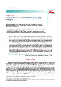 Examinations of factors influencing toe grip strength - J-Stage