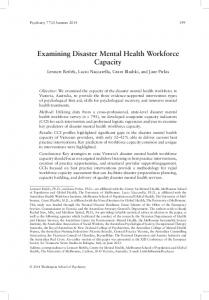 Examining Disaster Mental Health Workforce Capacity