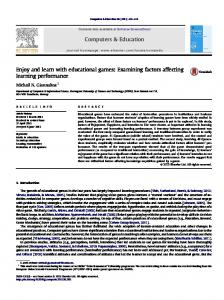 Examining factors affecting learning performance