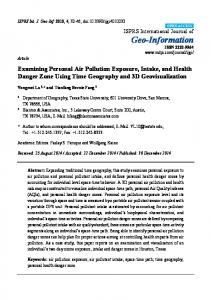 Examining Personal Air Pollution Exposure, Intake, and Health ... - MDPI