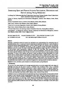 Examining Sport and Physical Activity Participation, Motivations and ...