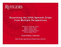 Examining the 2006 Spinach Crisis from Multiple Perspectives