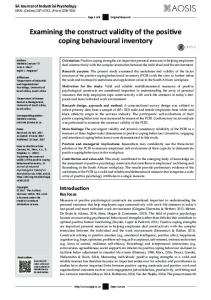 Examining the construct validity of the positive coping ... - (SciELO) SA