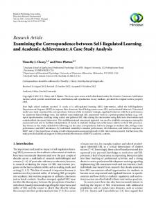 Examining the Correspondence between Self-Regulated Learning ...