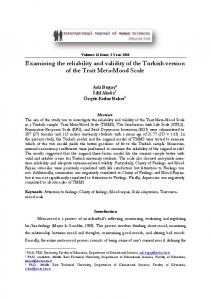 Examining the reliability and validity of the Turkish version of the Trait ...