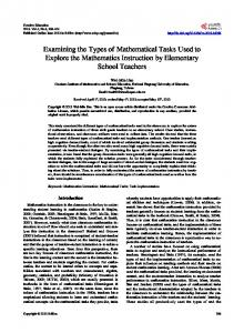Examining the Types of Mathematical Tasks Used to Explore the ...