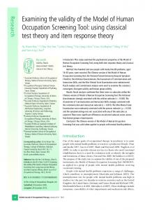 Examining the validity of the Model of Human ... - SAGE Journals