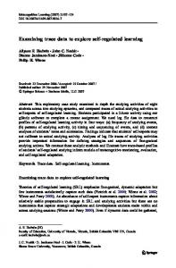 Examining trace data to explore self-regulated learning - Springer Link