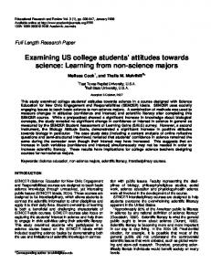 Examining US college students' attitudes towards science: Learning ...