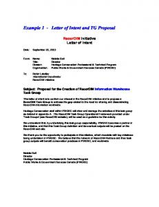 Example 1   Letter Of Intent And TG Proposal