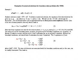 Examples of numerical solutions for boundary value problems (for ...