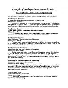 Examples of Undergraduate Research Projects in Computer ...