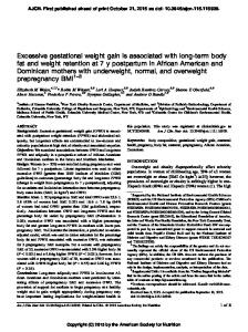 Excessive gestational weight gain is associated with long-term body ...