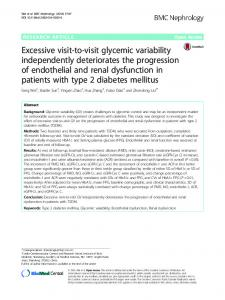 Excessive visit-to-visit glycemic variability ... - Springer Link