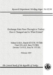 Exchange Rate Pass-Through In Turkey - TCMB