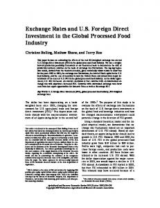 Exchange Rates and US Foreign Direct Investment ... - AgEcon Search