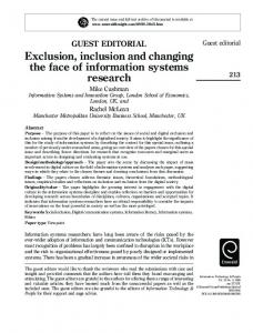 Exclusion, inclusion and changing the face of information ... - CiteSeerX