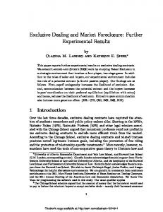 Exclusive Dealing and Market Foreclosure: Further ... - SSRN
