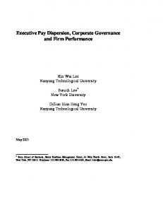 Executive Pay Dispersion, Corporate Governance and ... - CiteSeerX