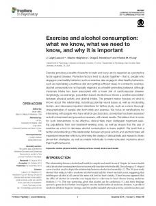 Exercise and alcohol consumption - Frontiers