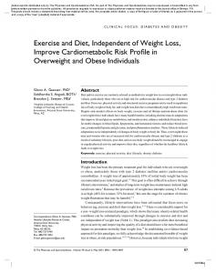 Exercise and Diet, Independent of Weight Loss