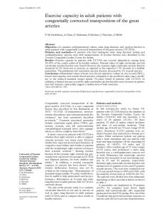 Exercise capacity in adult patients with congenitally corrected ... - NCBI