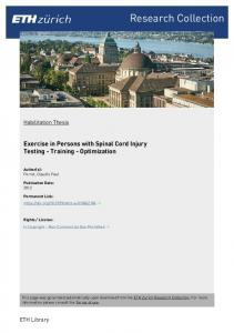 Exercise in Persons with Spinal Cord Injury - ETH E-Collection