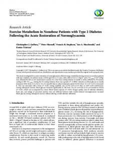 Exercise Metabolism in Nonobese Patients with Type 2 Diabetes ...