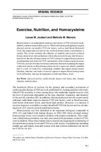 Exercise, Nutrition, and Homocysteine