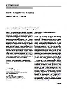 Exercise therapy in Type 2 diabetes - Springer Link