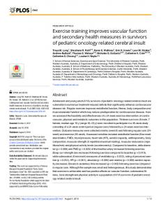 Exercise training improves vascular function and secondary ... - PLOS