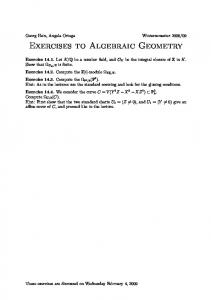 Exercises to Algebraic Geometry