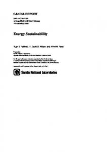 Exergy Sustainability - Sandia National Laboratories