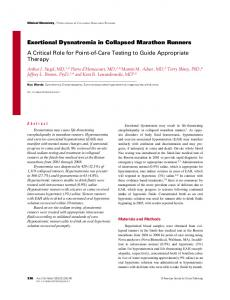 Exertional Dysnatremia in Collapsed Marathon Runners A Critical ...