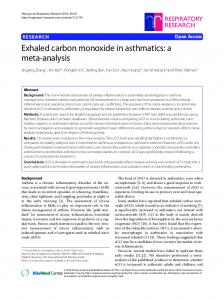 Exhaled carbon monoxide in asthmatics: a meta-analysis - Springer Link