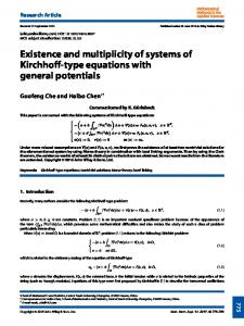 Existence and multiplicity of systems of Kirchhoff ... - Wiley Online Library