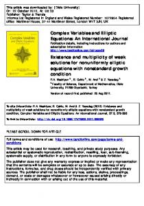 Existence and multiplicity of weak solutions for ...