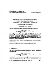 EXISTENCE AND MULTIPLICITY RESULTS FOR NONLINEAR ...