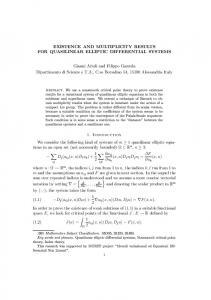 EXISTENCE AND MULTIPLICITY RESULTS FOR QUASILINEAR ...