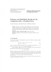 Existence and Multiplicity Results for the p-Laplacian ... - Springer Link