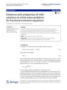 Existence and uniqueness of mild solutions to initial value problems