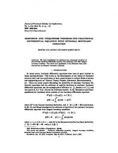 EXISTENCE AND UNIQUENESS THEOREM FOR FRACTIONAL ...