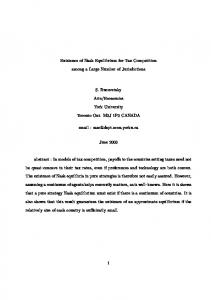 Existence of Nash Equilibrium for Tax Competition among ... - CiteSeerX
