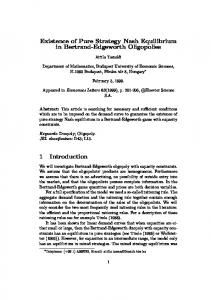Existence of Pure Strategy Nash Equilibrium in Bertrand ... - Core