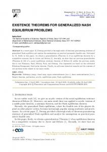 existence theorems for generalized nash equilibrium problems