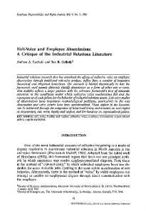 Exit-voice and employee absenteeism: A critique of the industrial ...