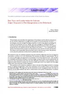 Exit, Voice, and Loyalty within the Judiciary ... - Utrecht Law Review